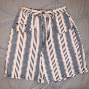 Vintage Blue & White Striped Mom Shorts